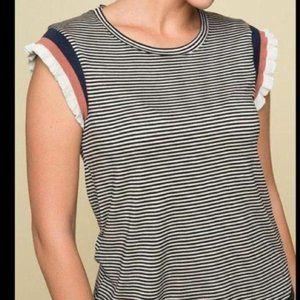 DOLAN Black Beige Stripe  Sleeveless Top